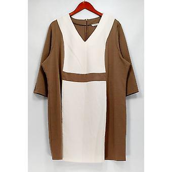 Liz Claiborne New York Petite Dress V-Neck Ponte Beige A257197
