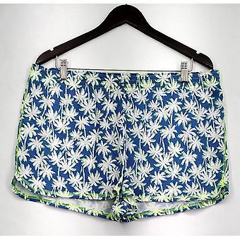 Joe Boxer Women's Blue & White Palm Tree Shorts Womens