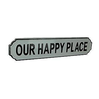 Black and White Enamel Metal Art Happy Place Wall Sign