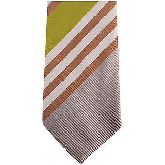 Gene Meyer New Blue Grass Diagonal Striped Tie - Grey/Brown/Green