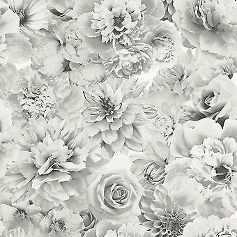 Arthouse Glitter Bloom kwiatowy Tapety srebrny szary biały kwiaty botaniczny
