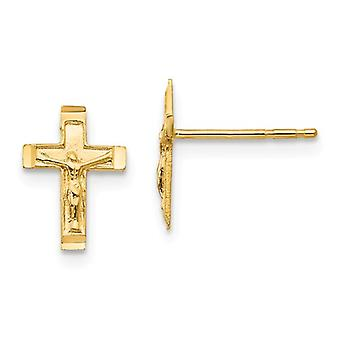 14k Yellow Gold Textured Polished Crucifix Post Earrings 1/4 Inch x 3/8 Inch Jewelry Gifts for Women
