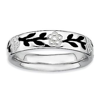 925 Sterling Zilver Patroon Wit email zwart glazuur Rhodium verguld stackable expressies gepolijst geëmailleerd bloem Ri