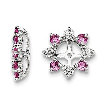 925 Sterling Silber Rhodium vergoldet Diamant und erstellt rosa Saphir Ohrringe Jacke Schmuck Geschenke für Frauen