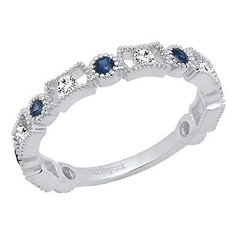 Dazzlingrock Collection 14K Round Blue Sapphire & White Diamond Women's Wedding Band Stackable Ring, White Gold
