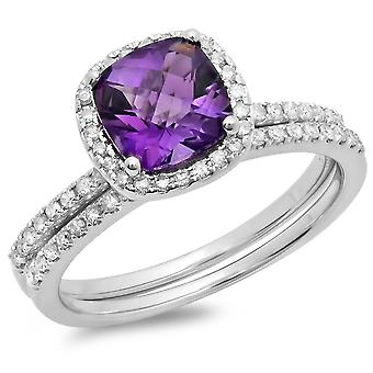 Dazzlingrock Colectia 10K 7 MM pernă cut ametist & runda White Diamond Halo inel de nunta set, alb aur