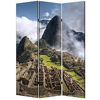 "1"" x 48"" x 72"" Multi Color Wood Canvas Machu Picchu  Screen"