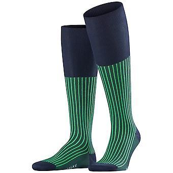 Falke Oxford Stripe knie hoge sokken-Marine Navy/groen