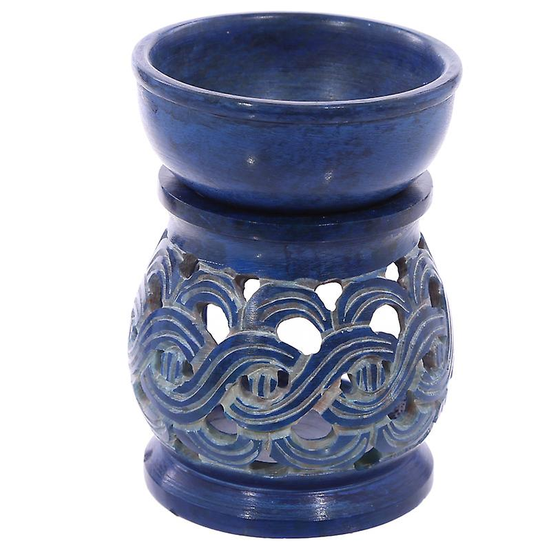 Coloured Soapstone Oil Burner with Spiritual Patterns
