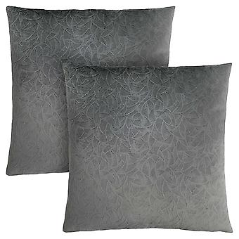 "18"" x 18"" Dark Grey, Floral Velvet - Pillow 2pcs"
