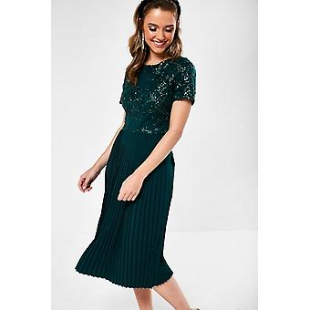 iClothing Ariel Sequin Detail Occasion Dress In Dark Green-16