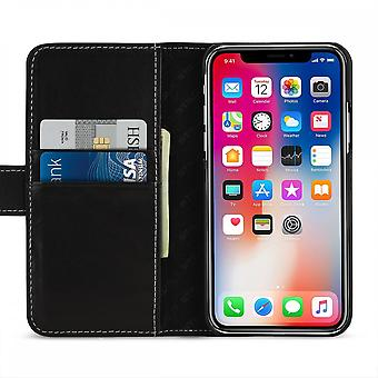 Case For IPhone Xs / X Black Nappa Card Holder In True Leather