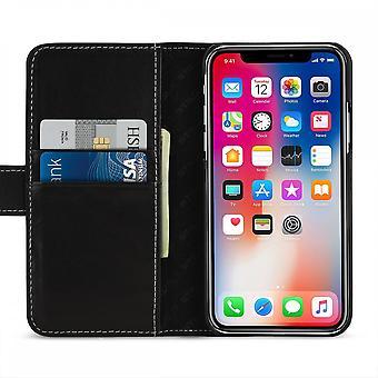 Etui Pour Iphone Xs / X Porte-cartes Noir Nappa En Cuir Véritable