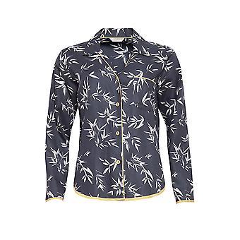 Cyberjammies 4347 Frauen's Willow grau Bambus Blatt Druck Baumwolle Pyjama Top