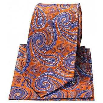 Posh and Dandy Swirly Paisley Silk Tie and Hanky Set - Orange/Lilac