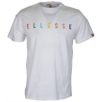 Ellesse Cotechino Rainbow Stitched Logo Optic White Cotton T-shirt