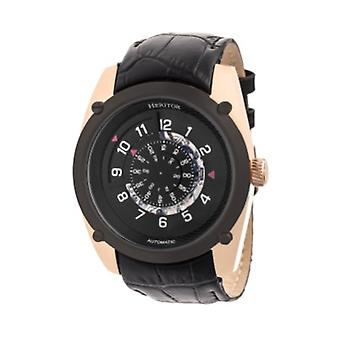 Heritor Automatic Daniels Semi-Skeleton Leather-Band Watch - Rose Gold/Black