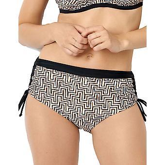 Miss Sans Complexe 68QAF05 Women's Casablanca Black Graphic Print Swimwear Beachwear Highwaist Bikini Bottom