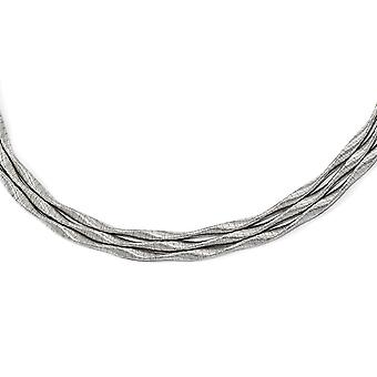 925 Sterling Silver Rhodium plated 3 strand With 2inch Ext. Necklace 17 Inch Jewelry Gifts for Women