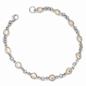 Cheryl M 925 Sterling Silver Bezel Fancy Lobster Closure Rose 14k Gold Plated CZ Cubic Zirconia Simulated Diamond Bracel