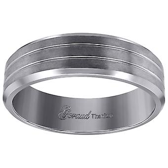 Titanium Mens Brushed Grooved Comfort Fit Wedding Band 7mm Jewelry Gifts for Men - Ring Size: 8 to 13
