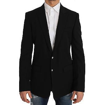 Dolce & Gabbana Black Wool Martini Coat Of Arms Blazer Jacket