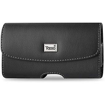 Reiko Horizontal Leather Pouch with Magnetic Clasp for Small phones - Black