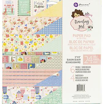 """Prima Marketing kaksipuolinen paperi pad 12 """"X12"""" 24/pkg-matkustaminen tyttö, 6 foiled mallit/4 kukin"""