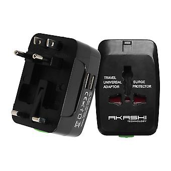 International Travel Adapter 2 USB Ports UK, USA, AUS, NZ, EU-Akashi, White