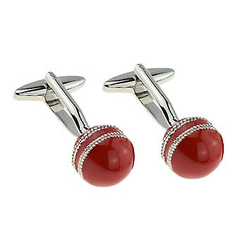 Red Cricket Ball Cufflinks - Gift Boxed -  Cricketers Cricketing Cuff Links