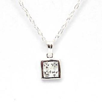 Toc Sterling Silver Square Cubic Zirconia Pendant on 18 Inch Chain