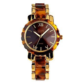 Eton Womens Fashion Watch, Tortoise Shell look Plastic Link / Gold Tone Bracelet