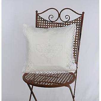 Hossner embroidered crocheted Cushion cover shabby vintage cottage cream 40 x 40 cm