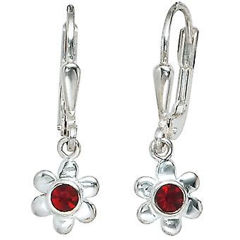 Kids Boutons Flower 925 Silver 2 Red Glass Stones Earrings Earrings Earrings