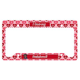 Carolines Trésors LH9133LPF Dachshund Valentine-apos;s Love and Hearts Licence Pla