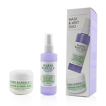Lavender mask & mist duo set: flower & tonic mask 2 oz + facial spray with aloe, chamomile and lavender 4oz 2pcs
