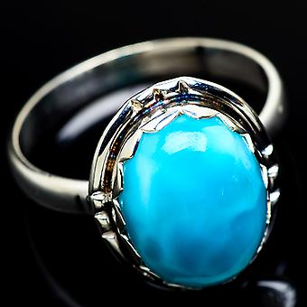 Larimar Ring Size 12 (925 Sterling Silver)  - Handmade Boho Vintage Jewelry RING7833