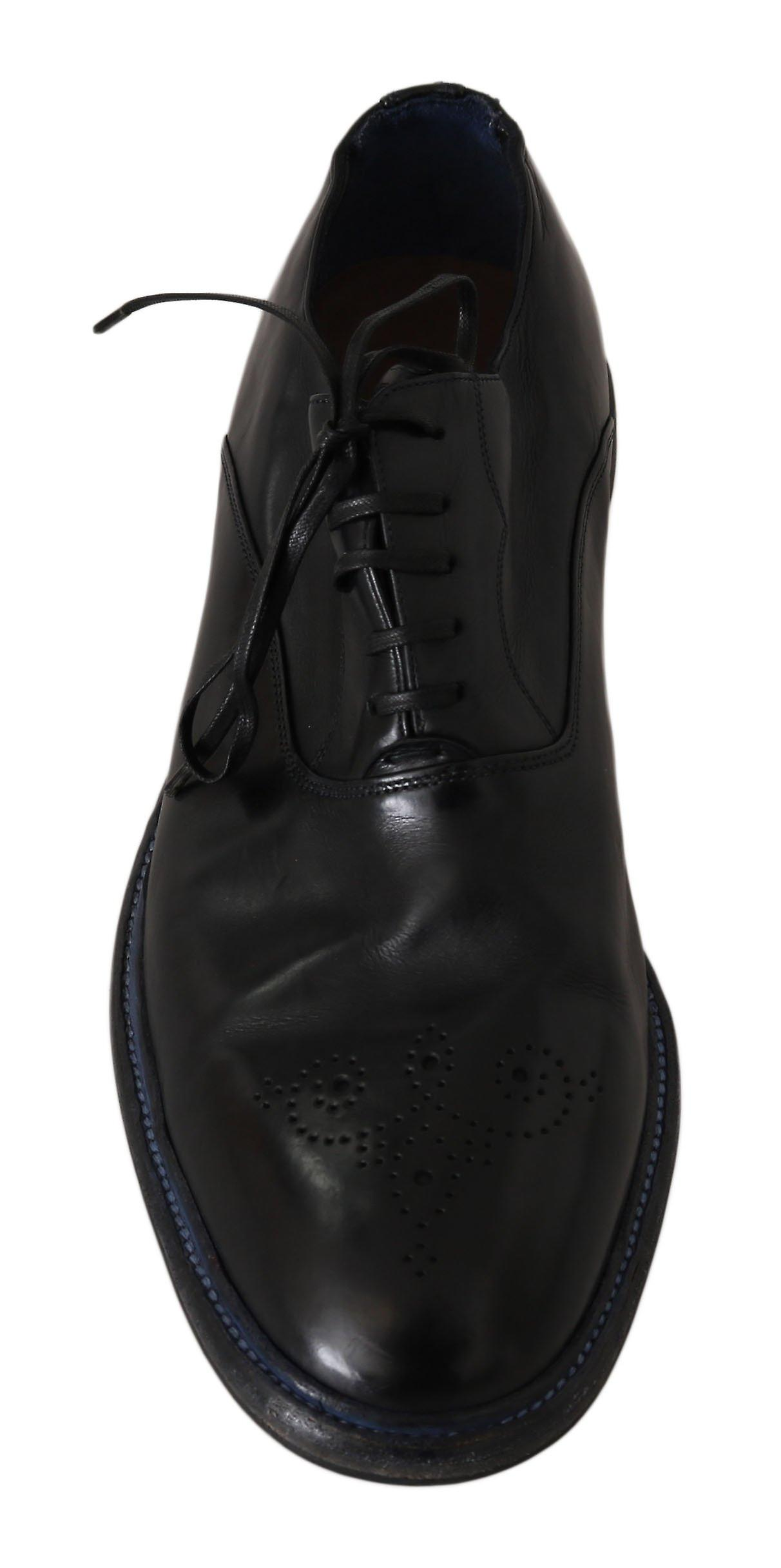 Dolce & Gabbana Black Leather Derby Brogue Dress Shoes MV2408-45