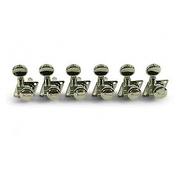 Kluson Revolution F-mount Diecast Tuners For 70's-style Fender - Locking - 6 In Line - Staggered Post Heights 19:1 Gear Ratio