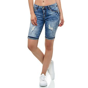 Women Capri Jeans Shorts with pearls Sequins Destroyed-Design 5 Pocket