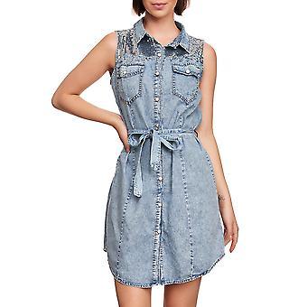 Women Denim Jeans Dress Sleeveless Denim Blouse SlimFit Summer Sequins Belt