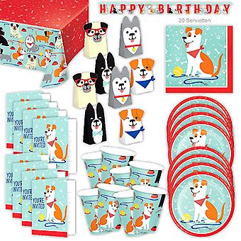 Dogs Dogs Party Set XL 54-delige voor 8 gasten Partybox Dog Party Party Party Pakket