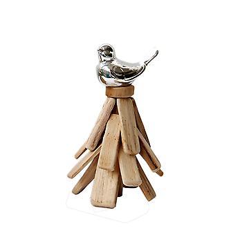 Wooden and Ceramic Handmade Bird Deration Silver 10X10X18.5CM