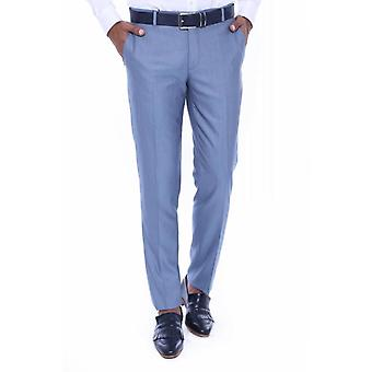 Self patterned light blue fabric trouser