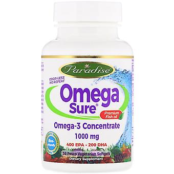Paradise Herbs, Omega Sure, Omega-3 Premium Fish Oil, 1,000 mg, 30 Pesco Vegetar