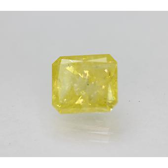 Cert 2.22 カラット ビビッド イエロー SI3 ラディアント強化天然ダイヤモンド 7.75x6.84mm