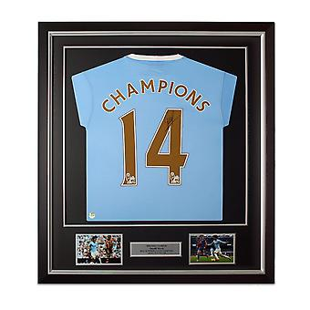 David Silva Signed Manchester City 2013-14 Football Shirt: Champions 14. Framed Limited Edition