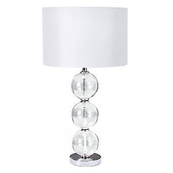 Valonheitin - 1 valopöytälampun kromi, lasipalloilla ja valkoisella sävyllä, E27