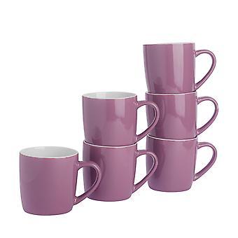 Teekahvimukit - 6kpl nykyaikaiset värilliset keraamiset kupit - 350ml - Violetti - Pakkaus 6