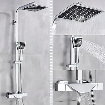 Bathroom Faucet Rain Shower Head, Thermostatic Bath Faucet- Wall Mounted